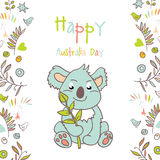 Celebratory Australia Day background. Happy Australia Day with a cartoon koala. Celebratory background with flowers and leaves. layout design template for cards Royalty Free Stock Image