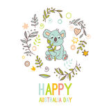 Celebratory Australia Day background. Happy Australia Day with a cartoon koala. Celebratory background with flowers and leaves. layout design template for cards Royalty Free Stock Photo