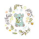 Celebratory Australia Day background. Happy Australia Day with a cartoon koala. Celebratory background with flowers and leaves. layout design template for cards Royalty Free Stock Photography