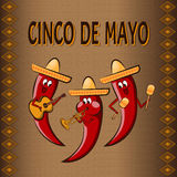 Celebratory background Cinco De Mayo, with three cartoon peppers. Playing on musical instruments and ornaments. For banners, postcards Royalty Free Stock Images