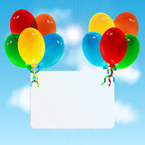 Celebratory background. Colorful balloons and white sheet of paper on sky background.celebratory background Royalty Free Stock Image