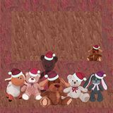 Celebratory background with colorful plush toys in Christmas cap Royalty Free Stock Images