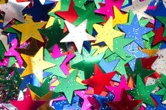 Celebratory Background from colour stars. Macro Stock Photo