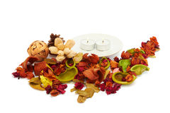 Celebratory background of dried flowers and candl Royalty Free Stock Image