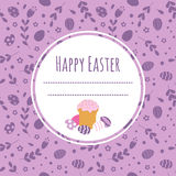 Celebratory background with Easter cake, painted eggs and space for text. Royalty Free Stock Photography