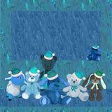 Celebratory background with plush toys in Christmas caps Royalty Free Stock Photo