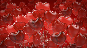 Celebratory background of red balloons. Shape of heart Stock Images