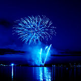 Celebratory blue firework Royalty Free Stock Photography