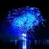 Celebratory blue firework stock photo