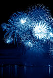 Celebratory blue firework Stock Photography