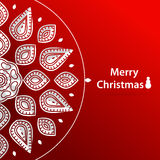 Celebratory bright background for Christmas. Christmas snowflake. White mandala. Stock Photography