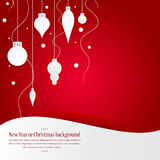 Celebratory bright background for Christmas and New Year. Greeting card. White Christmas decorations, toys on a red background. Celebratory bright background stock illustration