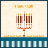 Celebratory bright background for Hanukkah. Festive table. Ornament. Candlestick Stock Image