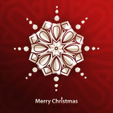 Celebratory bright background for Merry Christmas and New Year. White snowflake. Royalty Free Stock Photo