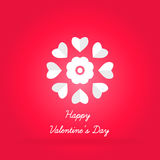 Celebratory bright background for Valentine`s Day. Volumetric white heart. Celebratory bright background for Valentine`s Day. Greeting card. Congratulations on Stock Photos