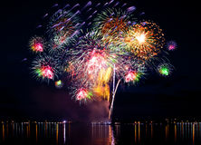 Celebratory bright firework stock photos