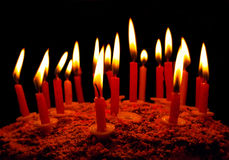 Celebratory cake with candles Stock Photo