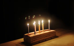 Celebratory cake with candles. A festive ice cream cake with candles, a holiday, a birthday Royalty Free Stock Photos