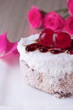 Celebratory cake with cherries Royalty Free Stock Images