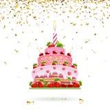 Celebratory Cake with Confetti Stock Photo