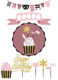 Celebratory cake with set of decoration, toppers, candles and ga Royalty Free Stock Images