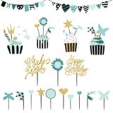 Celebratory cakes with set of decorations, toppers, candles and. Garlands with flags. Vector hand drawn illustration, scandinavian style in mint colors with Royalty Free Stock Photos