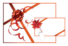 Celebratory card, with red ribbon. Stock Image