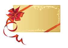 Celebratory card, with red ribbon with copy space. Stock Photo