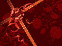 Celebratory card, with red ribbon and flowers. With copy space. Vector illustration Stock Photo