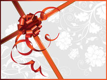 Celebratory card, with red ribbon and flowers. With copy space. Vector illustration Stock Image