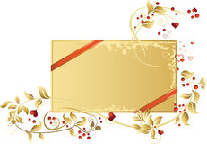 Celebratory card, with red ribbon and flowers with Royalty Free Stock Photos