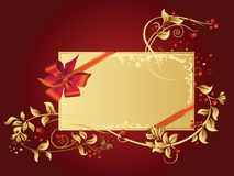 Celebratory card, with red ribbon and flowers with. Copy space. Vector illustration Stock Images