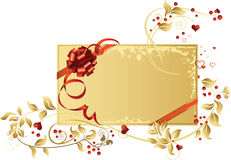 Celebratory card, with red ribbon and flowers. With copy space. Vector illustration Royalty Free Stock Photo