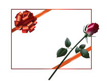 Celebratory card, with red ribbon and red rose. Stock Photography