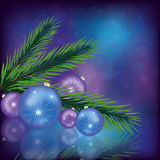 Celebratory Christmas background. EPS 10. Celebratory Christmas background with christmas balls, branch of a fir-tree, snowflakes and decorative bubbles. Vector vector illustration
