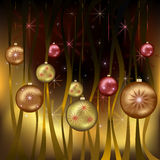 Celebratory Christmas background gold. Saturated celebratory New year and Christmas background gold with christmas-tree toys and decorations. Vector illustration Stock Photo