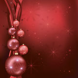 Celebratory Christmas background red - black. Beautiful  celebratory New year and Christmas background red - black with christmas balls, stars, ribbons  and Royalty Free Stock Photo