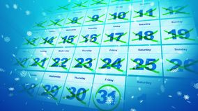 Festive and bright calendar dates. Celebratory 3d illustration of the calendar placed askew with double crossed dates and white snowflakes. The 31st of December Royalty Free Stock Photo