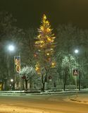 The celebratory (decorated) fur-tree. Night city. Shortly before Christmas. It is similar to a fairy tale. Provincial city in Latvia Stock Image