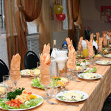 The celebratory decorated table. With salads and drinks Royalty Free Stock Images