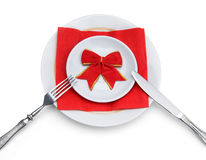 Celebratory dinner. On white background Royalty Free Stock Photo