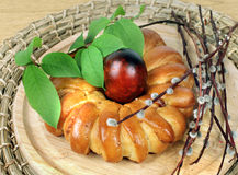 Celebratory Easter bread and egg Stock Image