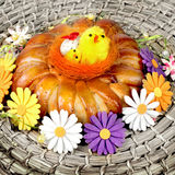 Celebratory Easter bread and eggs Royalty Free Stock Photos
