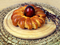 Celebratory Easter bread and eggs Royalty Free Stock Photography