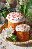 Celebratory Easter bread and spring flowers Royalty Free Stock Photo