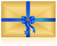 Celebratory envelope with bow Royalty Free Stock Photography