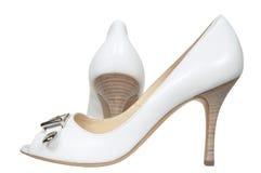 Celebratory female white shoes Royalty Free Stock Photography