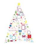Celebratory fir-tree. Celebratory New Year tree from symbols Stock Image