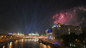 Celebratory fireworks over the center of Moscow. stock footage