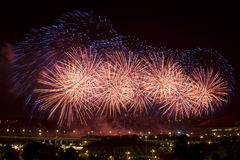 Celebratory fireworks over night city Moscow, Royalty Free Stock Images